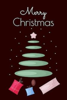 Modello di biglietto di natale con albero di natale astratto e scatole regalo invito per poster di buone feste