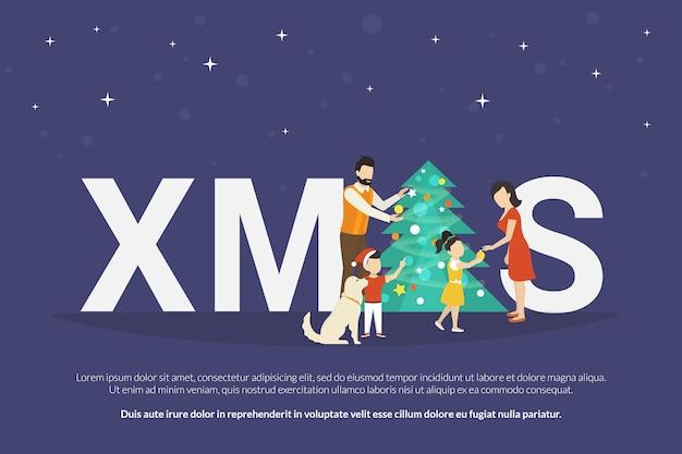 Illustrazione del concetto di natale della famiglia felice con bambini che decorano un albero di natale e si fanno regali gli uni dagli altri. preparazione della famiglia alla vacanza. felice madre, padre e bambini che festeggeranno