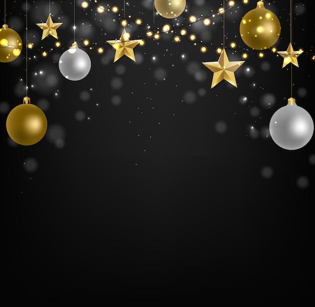 Decorazione di natale con illustrazione di stelle dorate