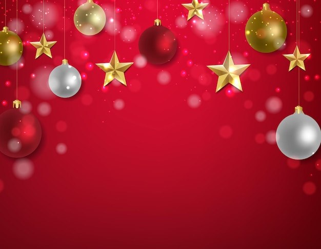 Decorazioni natalizie con stelle dorate e palline