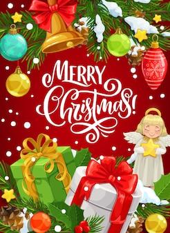 Cartolina d'auguri di regali di natale con auguri di buon natale.