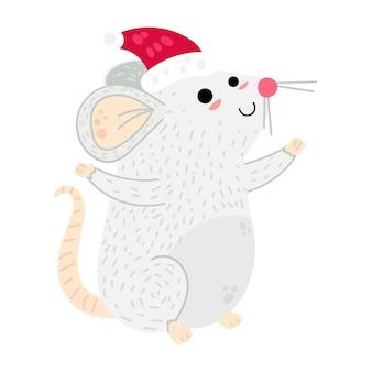 Illustrazione di vettore del personaggio dei cartoni animati del topo di natale. roditore nella cartolina del cappello di babbo natale. simbolo dell'anno 2020