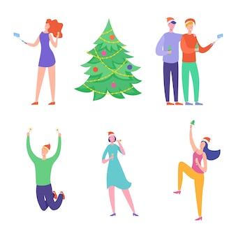 Carta di festa di natale o poster di invito. personaggi di persone che ballano, donne e uomini che celebrano la notte di buon natale e felice anno nuovo.