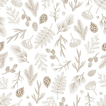 Reticolo senza giunte di natale con le decorazioni dell'albero di natale, illustrazione disegnata a mano di disegno di arte dei rami di pino.