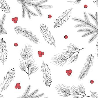 Xmas seamless pattern con decorazioni per alberi di natale, rami di pino disegnati a mano art design illustrazione vettoriale