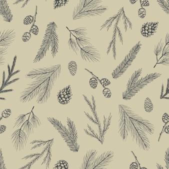 Modello senza cuciture di natale con le decorazioni dell'albero di natale, illustrazione di vettore di disegno di arte disegnata a mano di rami di pino.
