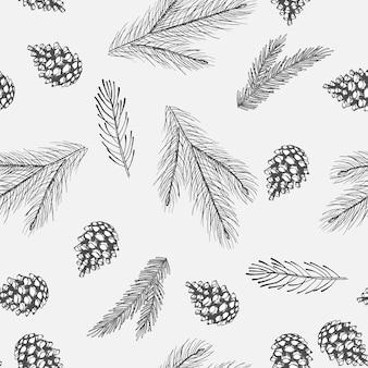 Reticolo senza giunte di natale con decorazioni per l'albero di natale, arte disegnata a mano di rami di pino