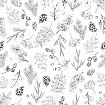 Xmas seamless pattern con decorazioni per alberi di natale