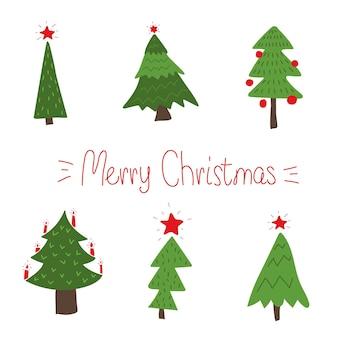 Albero di natale impostare l'albero di natale in stile doodle elementi disegnati a mano per la decorazione del nuovo anno