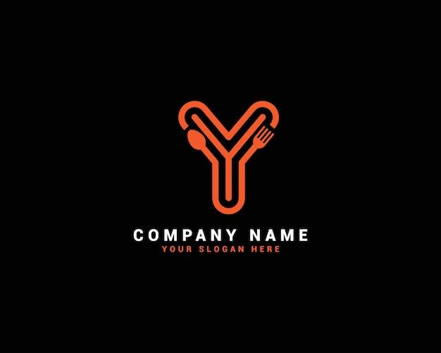 Logo della lettera di cibo y, logo della lettera del cucchiaio di y, set di logo della lettera di cibo, alfabeto del cibo