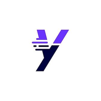 Y lettera trattino minuscolo tecnologia digitale veloce consegna rapida movimento logo blu icona vettore illustrazione