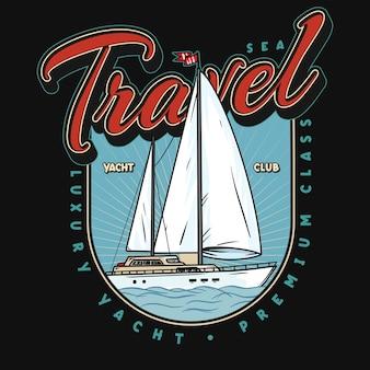 Logo o emblema dello yacht club, illustrazione del distintivo.