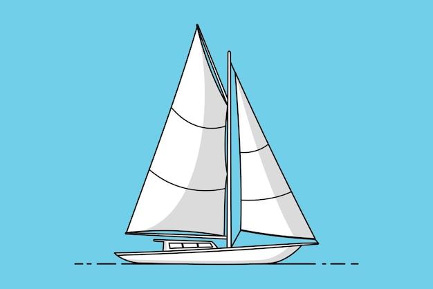 Barca a vela yacht o nave a vela, icona di vettore di nave a vela isolata su priorità bassa blu in stile design piatto