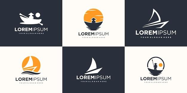 Insieme dell'icona del logo della nave yacht. disegno vettoriale illustrazione.
