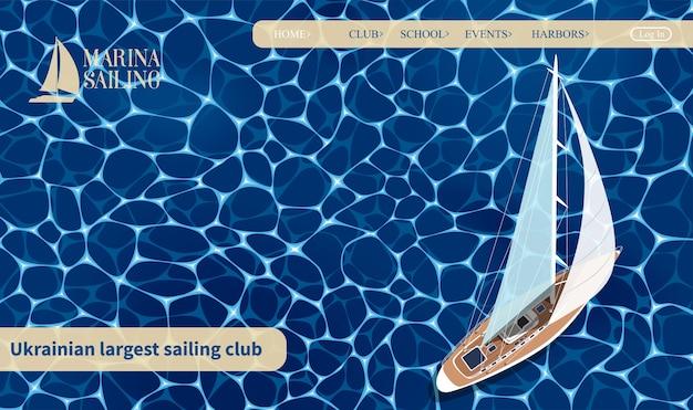 Set di banner di yachting club. barca a vela vista dall'alto sull'acqua di mare blu profondo. gara di yacht di lusso, regata di vela in mare. modello di sito web nautico in tutto il mondo per yacht o viaggi.