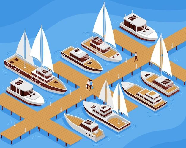 Yacht a vela e barche a motore e persone che vanno lungo l'illustrazione isometrica del molo 3d