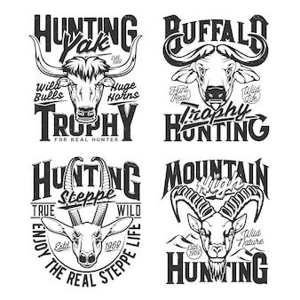 Yak, bufalo del capo e gazzella, stampa t-shirt caccia capra