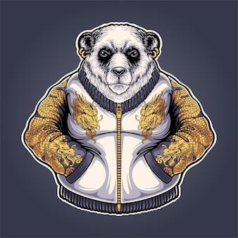 Illustrazione della mascotte del panda yakuza