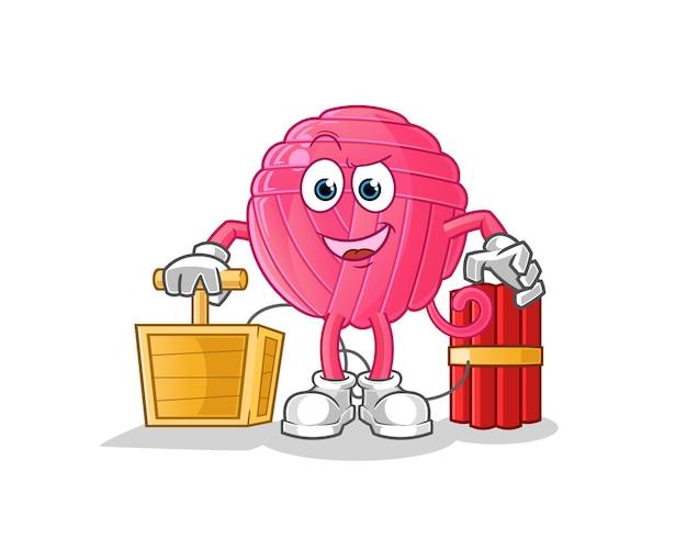 Sfera di filato che tiene il carattere del detonatore della dinamite. mascotte dei cartoni animati