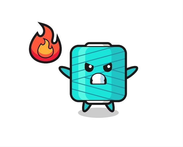 Cartone animato personaggio rocchetto di filato con gesto arrabbiato, design in stile carino per t-shirt, adesivo, elemento logo