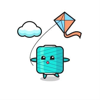 L'illustrazione della mascotte della bobina di filato sta giocando a un aquilone, un design in stile carino per maglietta, adesivo, elemento logo