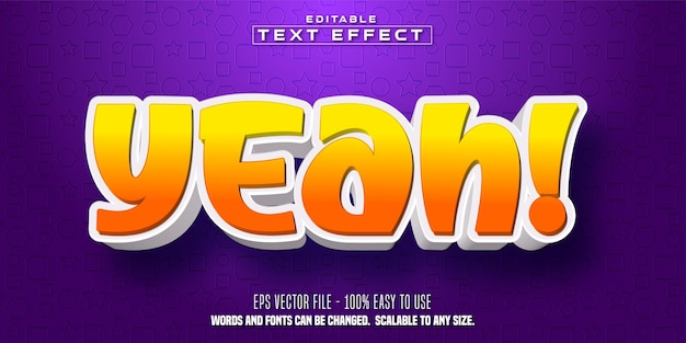 Sì testo, effetto di testo modificabile in stile cartone animato