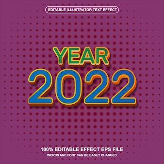 Vettore di effetto testo in stile retrò anno 2022