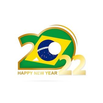 Anno 2022 con motivo bandiera brasiliana. felice anno nuovo disegno.