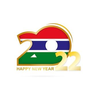 Anno 2022 con motivo bandiera gambia. felice anno nuovo disegno.