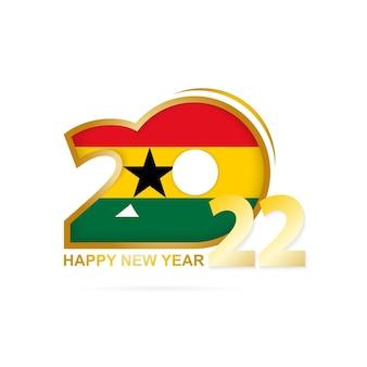 Anno 2022 con motivo bandiera ghana. felice anno nuovo disegno.