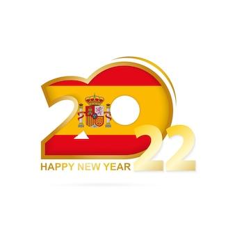 Anno 2022 con motivo a bandiera della spagna. felice anno nuovo disegno.