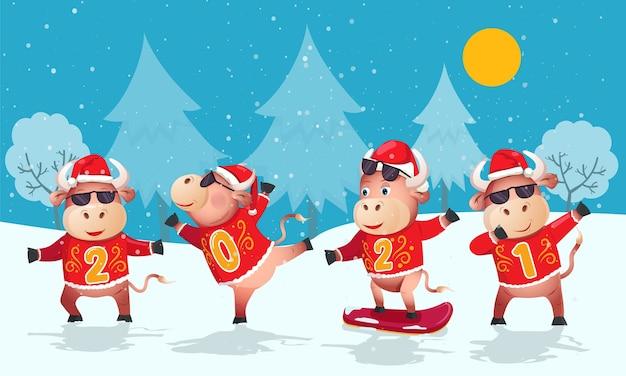 Anno del toro. quattro tori divertenti con i numeri del nuovo anno su sfondo invernale.