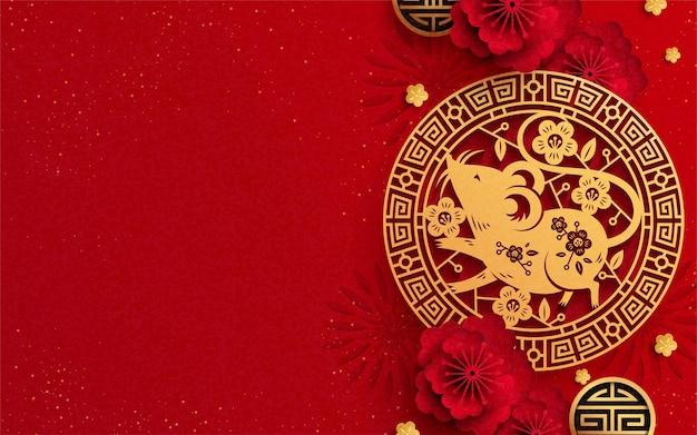 Anno del topo con topi di carta e decorazione floreale su sfondo rosso