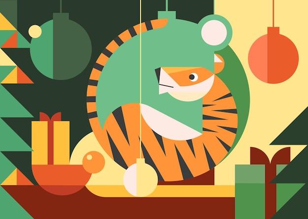 Anno della bandiera della tigre. cartolina di vacanza design in stile piatto.