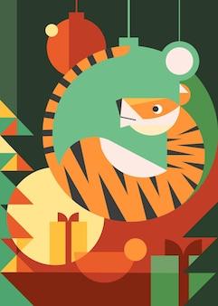 Manifesto dell'anno della tigre. cartolina di vacanza design in stile piatto.