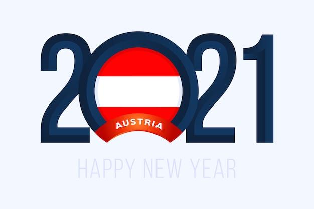 Anno con bandiera austria isolato su bianco