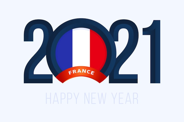 Anno con bandiera francia isolato su bianco