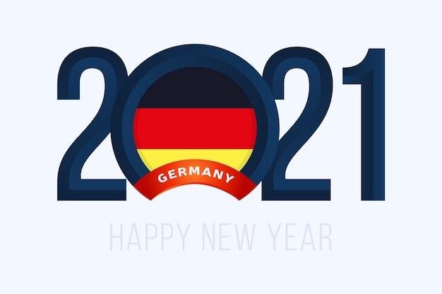 Anno con la bandiera della germania isolato su bianco