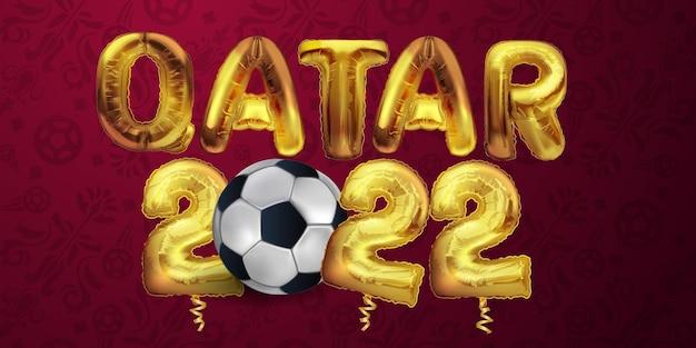 Anno con modello di bandiera del qatar felice anno nuovo design illustrazione vettoriale mongolfiera d'oro decora...