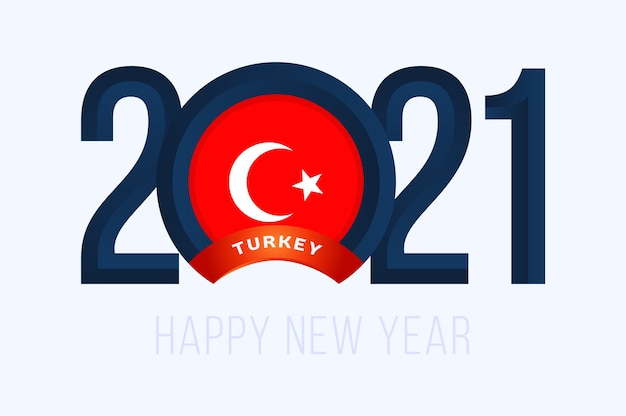 Anno con la bandiera della turchia isolato su bianco