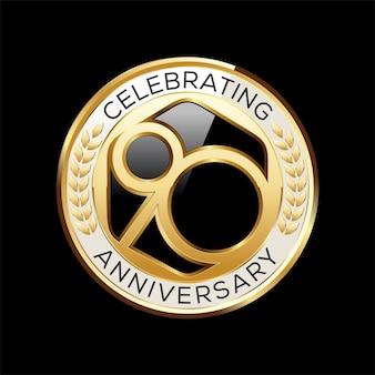 Emblema di anniversario di anni isolato sul nero