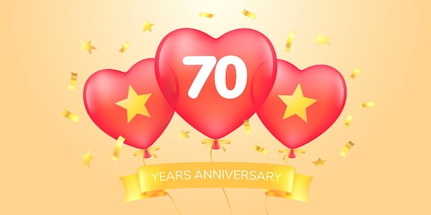 Anni anniversario logo vettoriale, icona. banner modello con mongolfiere per biglietto di auguri di anniversario