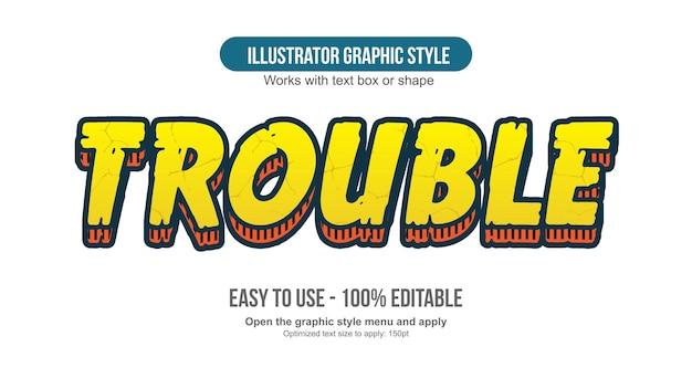 Stile di testo a fumetti in grassetto giallo 3d