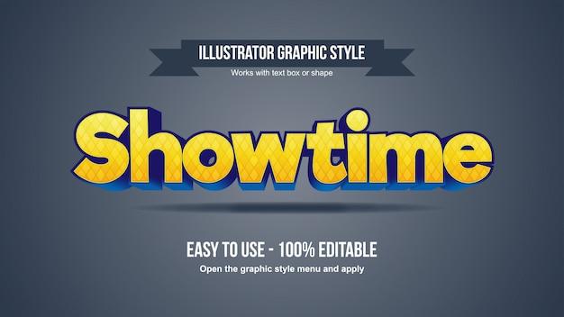 Stile di testo modificabile cartoonish giallo grassetto 3d serif