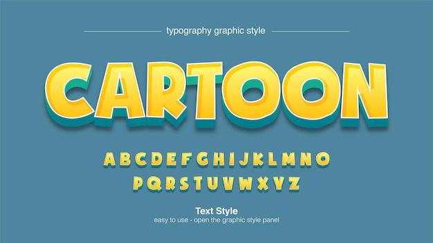 Tipografia di gioco di cartoni animati 3d gialli