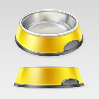 Ciotola animale gialla per pasto