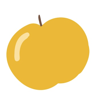 Stile semplice del fumetto dell'illustrazione di vettore della mela gialla