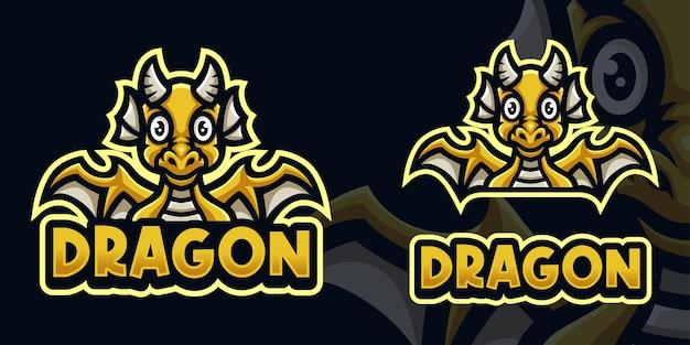 Modello di logo di gioco della mascotte del drago giallo del bambino per lo streamer di esports facebook youtube