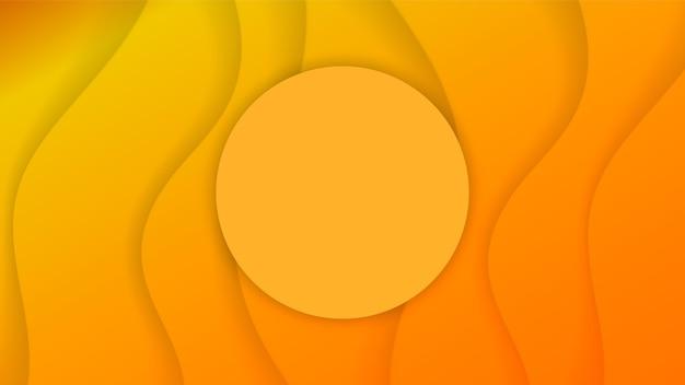 Sfondo giallo con forme tagliate di carta. illustrazione. arte dell'intaglio astratto 3d.