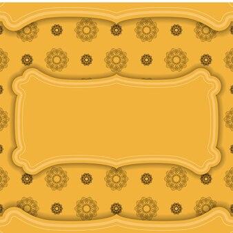 Banner giallo con ornamento mandala marrone e un posto per il tuo logo
